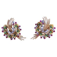 Retro Diamond, Ruby, Emerald & 18K Yellow Gold Wreath Motif Clip Earrings