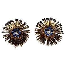 1950's Sapphire, Diamond & 18K Yellow Gold Flower Motif Earrings