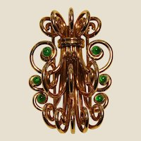 Signed Mellerio 18K Yellow Gold & Emerald Retro Period Fantasy Brooch