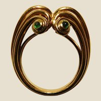 Signed 18K Yellow Gold & Emerald Retro Period Fantasy Ring