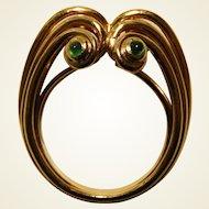Signed 18K Yellow Gold & Emerald Retro Period Fantasy Ring