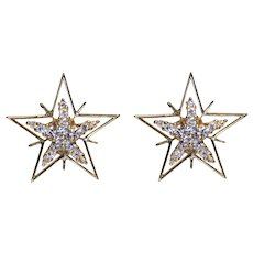 Diamond & 18K Yellow Gold Star Earrings