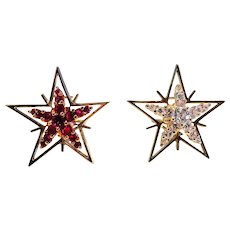 Diamond, Ruby & 18K Yellow Gold Star Earrings