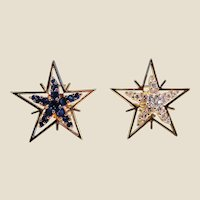 Diamond, Sapphire & 18K Yellow Gold Star Earrings