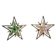 Diamond, Emerald & 18K Yellow Gold Star Earrings