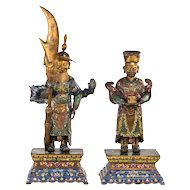 Pair 20th Century Cloisonne Figures