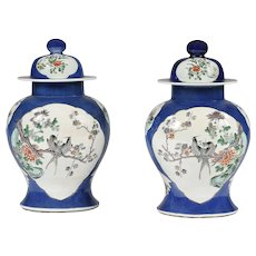19th Century pair of porcelain vases with lids