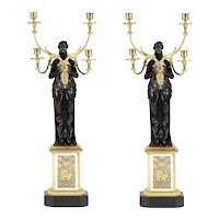 Early 19th Century cast bronze and ormolu candelabra