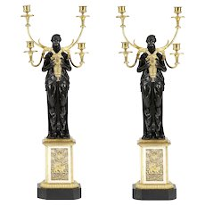 Early 19th Century cast bronze and ormolu candelabra