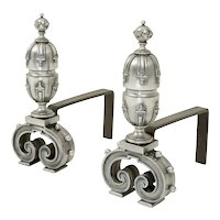 Pair of Victorian cast iron andirons