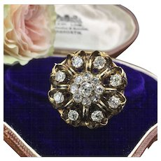 Antique Diamond Brooch In 14K Gold With Rich Enamel Work 3.38cttw