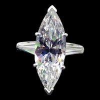 5.57ct Marquise Diamond Engagement Ring Set in Platinum ~6.17cttw~
