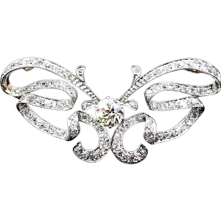 Extraordinary Belle Epoch Diamond Butterfly Brooch with 1.75 Center Diamond  (with smaller diamonds totaling an additional 2cttw!)  Just Striking!
