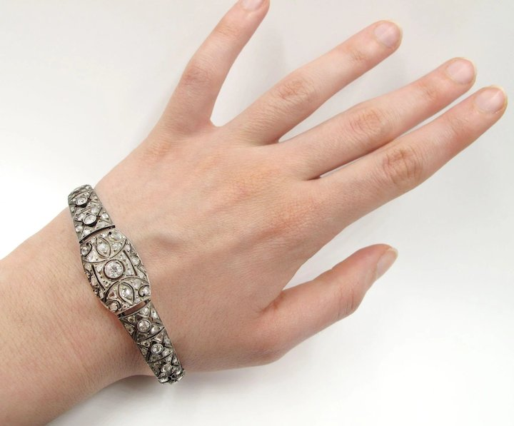 bracelet wedding natural p anniversary deco art sterling ct diamond certified silver