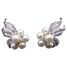 Superb White Gold Diamond Pearl Cocktail Earrings