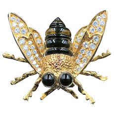 Delightful 18K Gold Bumble Bee with Diamonds  (1.4 cttw), Black & Yellow Stones 15.6 Grams Brooch