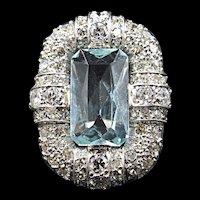 Wonderful large Aquamarine & Diamond Platinum Deco Ring Size 7 circa 1920