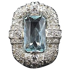 Wonderful large Aquamarine & Diamond Platinum Deco Ring Size 7 circa 1920