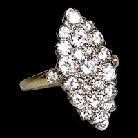 *The Tara* 14-18K Diamond Plaque Ring Featuring 1.12cttw of Diamonds