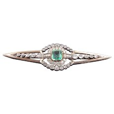Belle Epoque Emerald And Diamond Brooch 4cttw C. 1895
