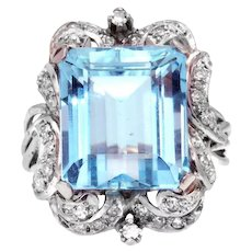 Aquamarine and Diamond Platinum Estate Ring with GAL Appraisal Report