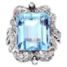 Aquamarine and Diamond Platinum Estate Ring with GAL Appraisal Report