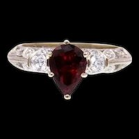 Pear-Cut Tourmaline Diamond Ring in in 18k White Gold