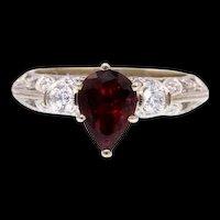 Pear-Cut Tourmaline Diamond Ring in in 18k White Gold