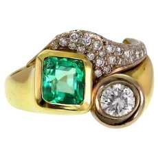 Emerald and Diamond 18k Yellow Gold Ring with GIA Report