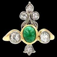 Cabochon Emerald Diamond 14k Yellow Gold Ring