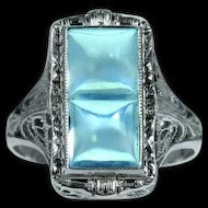 Twin Moonstone 18k White Gold Openwork Ring
