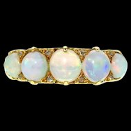 Opal and Diamond 22k Gold Half Band