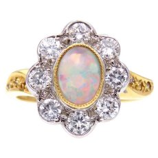 Opal and Diamond 18k Gold Ring