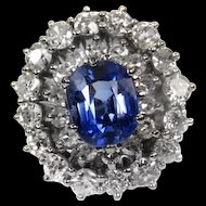 Blue Sapphire and Diamond Platinum Ring