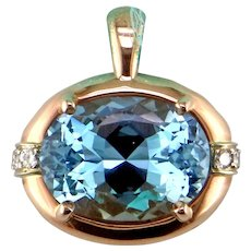 Superb Aquamarine in One-of-a-Kind 14K Rose Gold Pendant