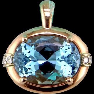 Superb Aquamarine in One-of-a-Kind 14K Rose Gold Pendant