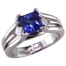 Princess Cut Blue Sapphire & Diamond Platinum Engagement Ring