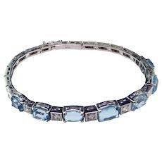 Art Deco Aquamarine & Diamond 18K Bracelet
