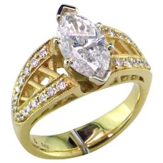 One-of-a-Kind 2 ct. D Marquise 18K & Platinum Ring