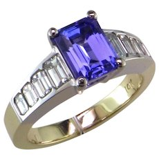 1.23 ct. Emerald Cut Tanzanite & Diamond Ring