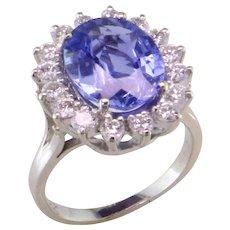 Lady Di style 4.75 ct. Blue Sapphire & Diamond Halo Ring
