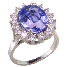 Lady Diana Style Sapphire and Diamond Halo Ring