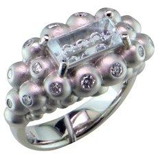 Fantasy Cut Aquamarine Diamond 14K Ring