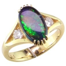 Black Opal & Diamond 14K Gold Ring