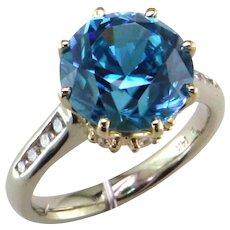 8.31 ct. Blue Zircon & Diamond 14K Ring