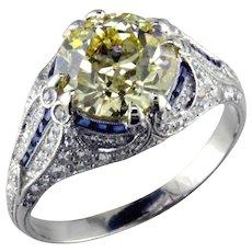 3.08 ct Fancy Yellow VVS2 Diamond in Platinum Ring by T.B.Starr