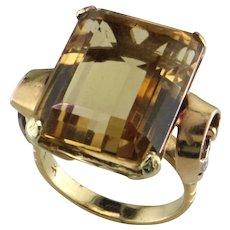 Retro 18K Yellow & White Gold Citrine Ring595