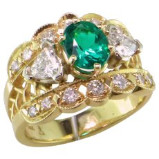 Emerald & Diamond Basket Weave Ring