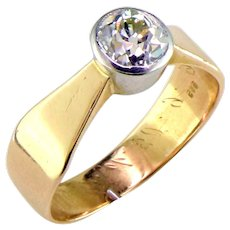 Art Nouveau Old European Cut Diamond 14K Ring