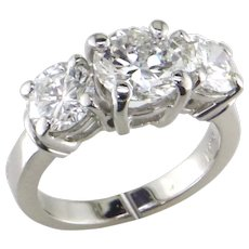 3 ct 3 Stone Diamond Platinum Ring